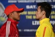 14 March 2017; Román Gonzalez faces off with Srisaket Sor Rungvisai during a press conference in The Theater at Madison Square Garden in New York, USA. Photo by Ramsey Cardy/Sportsfile