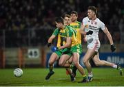15 March 2017; Brendan McCole of Donegal in action against Brian Kennedy of Tyrone during the EirGrid Ulster GAA Football U21 Championship Quarter-Final match between Tyrone and Donegal at Healy Park in Omagh, Co Tyrone. Photo by Philip Fitzpatrick/Sportsfile