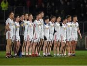 15 March 2017; The Tyrone team line out for the national anthem during the EirGrid Ulster GAA Football U21 Championship Quarter-Final match between Tyrone and Donegal at Healy Park in Omagh, Co Tyrone. Photo by Philip Fitzpatrick/Sportsfile