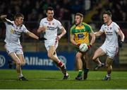 15 March 2017; Tony McCleneghan of Donegal in action against Ben O'Donnell (L,) Paul donaghy, (c) and Brian Kennedy of Tyrone during the EirGrid Ulster GAA Football U21 Championship Quarter-Final match between Tyrone and Donegal at Healy Park in Omagh, Co Tyrone. Photo by Philip Fitzpatrick/Sportsfile Photo by Philip Fitzpatrick/Sportsfile