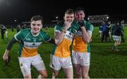 15 March 2017; Offaly players from left Paddy Dunican along with David Dempsey and Jordan Hayes celebrate after the final whistle at the EirGrid Leinster GAA Football U21 Championship Semi-Final match between Offaly and Laois at Netwatch Cullen Park in Carlow. Photo by Matt Browne/Sportsfile