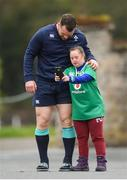 16 March 2017; Ireland supporter Jennifer Malone, from Clane, Co Kildare, meets Cian Healy during Ireland rugby squad training at Carton House in Maynooth, Co Kildare. Photo by Stephen McCarthy/Sportsfile