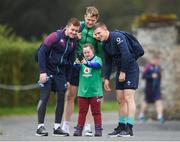16 March 2017; Ireland supporter Jennifer Malone, from Clane, Co Kildare, meets Paddy Jackson, left, Jamie Heaslip, centre, and Andrew Conway before Ireland rugby squad training at Carton House in Maynooth, Co Kildare. Photo by Stephen McCarthy/Sportsfile