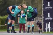 16 March 2017; Ireland supporter Jennifer Malone, from Clane, Co. Kildare meets Ireland players CJ Stander, left, and Keith Earls before Ireland rugby squad training at Carton House in Maynooth, Co Kildare. Photo by Lucy Varley/Sportsfile