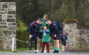 16 March 2017; Ireland supporter Jennifer Malone, from Clane, Co. Kildare meets Ireland players, from left, Paddy Jackson, Jamie Heaslip and Andrew Conway before Ireland rugby squad training at Carton House in Maynooth, Co Kildare. Photo by Lucy Varley/Sportsfile