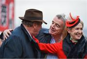 16 March 2017; Trainer Noel Meade, left, and owners Michael and Anita O'Leary following the Brown Advisory & Merriebelle Stable Plate Handicap Steeple Chase during the Cheltenham Racing Festival at Prestbury Park in Cheltenham, England. Photo by Seb Daly/Sportsfile