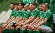 17 March 2017; Jamie Heaslip of Ireland, 4th from right, and his team-mates pose for a team photograph prior to their captain's run at Aviva Stadium in Lansdowne Road, Dublin. Photo by Brendan Moran/Sportsfile
