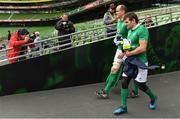17 March 2017; Devin Toner, left, and Jared Payne of Ireland walk out prior to their captain's run at Aviva Stadium in Lansdowne Road, Dublin. Photo by Brendan Moran/Sportsfile