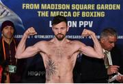 17 March 2017; Andy Lee weighs in for his middleweight bout against KeAndrae Leatherwood at The Theater in Madison Square Garden in New York, USA. Photo by Ramsey Cardy/Sportsfile