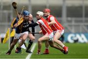 17 March 2017; Pat Joe Connolly of Ballyea is run out of play by Cuala's Darragh O'Connell and David Treacy, right, during the AIB GAA Hurling All-Ireland Senior Club Championship Final match between Ballyea and Cuala at Croke Park in Dublin. Photo by Piaras Ó Mídheach/Sportsfile