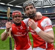 17 March 2017; David Treacy, left, and Mark Schutte of Cuala celebrate after the AIB GAA Hurling All-Ireland Senior Club Championship Final match between Ballyea and Cuala at Croke Park in Dublin. Photo by Piaras Ó Mídheach/Sportsfile