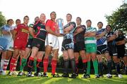23 August 2011; The Celtic League, rugby's premier professional club competition in Ireland, Italy, Scotland and Wales, was today formally launched. In attendance at the launch of the Celtic League 2011/12 season were from left, Paul Tito, Cardiff, Chris Henry, Ulster, Gareth Maule, Scarlets, Gavin Duffy, Connacht, Stephen Jones, Newport Gwent Dragons, Doug Howlett, Munster, Calum Forrester, Glasgow, Stuart McInally, Edinburgh, Antonio Pavanello, Benetton Treviso, Shane Horgan, Leinster, Jonathan Thomas, Ospreys and Roberto Santamaria, Aironi. Celtic League Sponsorship Launch, Conrad Hotel, Dublin. Picture credit: Brian Lawless / SPORTSFILE