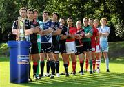 23 August 2011; The Celtic League, rugby's premier professional club competition in Ireland, Italy, Scotland and Wales, was today formally launched. In attendance at the launch of the Celtic League 2011/12 season were from left, Calum Forrester, Glasgow, Stuart McInally, Edinburgh, Antonio Pavanello, Benetton Treviso, Shane Horgan, Leinster, Jonathan Thomas, Ospreys, Roberto Santamaria, Aironi, Doug Howlett, Munster, Stephen Jones, Newport Gwent Dragons, Gavin Duffy, Connacht, Gareth Maule, Scarlets, Chris Henry, Ulster and Paul Tito, Cardiff. Celtic League Sponsorship Launch, Conrad Hotel, Dublin. Picture credit: Brian Lawless / SPORTSFILE