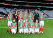 21 August 2011; INTO President Noreen Flynn with the Mayo boys team, back row, left to right, Aodhán î Bogaigh, Scoil Mobhi, Co. Dublin, Darren O'Dwyer, Scoil Teampall Toinne, Ballyporeen, Co. Tipperary, Patrick Smyth, Scoil Eoin Baiste, Clontarf, Co. Dublin, Conor Diskin, Barnacarroll N.S., Claremorris, Co. Mayo, front row, left to right, Cathal O'Mahony, Mitchelstown C.B.S., Co. Cork, Brandon Murphy, Shanagolden N.S., Shanagolden, Co. Limerick, Patrick Warren, Raheen N.S., Headford, Co. Kerry, Liam Harrington, Scoil An Spioraid Naoimh, Roxborough, Co. Limerick, Cathal Darcy, Ennis N.S., Ennis, Co. Clare. Go Games Exhibition - Sunday 21st August 2011, Croke Park, Dublin. Picture credit: Dáire Brennan / SPORTSFILE