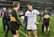 17 March 2017; Colm Cooper, left, of Dr. Crokes with Christopher McKaigue of Slaughtneil after the AIB GAA Football All-Ireland Senior Club Championship Final match between Dr. Crokes and Slaughtneil at Croke Park in Dublin. Photo by Brendan Moran/Sportsfile