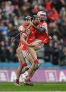 17 March 2017; Cuala players, left to right, Jake Malone, Mark Schutte, and Con O'Callaghan celebrate after the AIB GAA Hurling All-Ireland Senior Club Championship Final match between Ballyea and Cuala at Croke Park in Dublin. Photo by Daire Brennan/Sportsfile