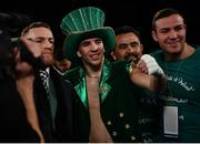 17 March 2017; Michael Conlan, centre, with Conor McGregor and Matthew Macklin after defeating Tim Ibarra in their featherweight bout at The Theater in Madison Square Garden in New York, USA. Photo by Ramsey Cardy/Sportsfile