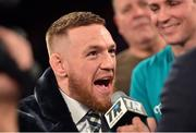 17 March 2017; UFC Lightweight Champion Conor McGregor during an interview in The Theater in Madison Square Garden in New York, USA. Photo by Ramsey Cardy/Sportsfile