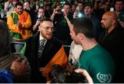 17 March 2017; UFC lightweight champion Conor McGregor and Matthew Macklin ahead of Michael Conlan's fight at The Theater in Madison Square Garden in New York, USA. Photo by Ramsey Cardy/Sportsfile