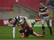 17 March 2017; Sean French of PBC is tackled by Jamie Mawhinney of Glenstal Abbey during the Clayton Hotels Munster Schools Senior Cup Final match between Glenstal Abbey and Presentation Brothers Cork at Thomond Park in Limerick. Photo by Diarmuid Greene/Sportsfile
