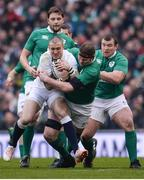 18 March 2017; Mike Brown of England is tackled by Donnacha Ryan of Ireland during the RBS Six Nations Rugby Championship match between Ireland and England at the Aviva Stadium in Lansdowne Road, Dublin. Photo by Sam Barnes/Sportsfile