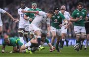 18 March 2017; Owen Farrell of England is tackled by Garry Ringrose of Ireland during the RBS Six Nations Rugby Championship match between Ireland and England at the Aviva Stadium in Lansdowne Road, Dublin. Photo by Brendan Moran/Sportsfile