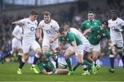 18 March 2017; Owen Farrell of England and Simon Zebo and Garry Ringrose of Ireland, right, compete for possession during the RBS Six Nations Rugby Championship match between Ireland and England at the Aviva Stadium in Lansdowne Road, Dublin. Photo by Brendan Moran/Sportsfile