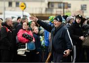 18 March 2017; Munster council steward Tommy Moynihan instructs supporters outside Austin Stack Park over two hours before the Allianz Football League Division 1 Round 5 match between Kerry and Dublin at Austin Stack Park in Tralee, Co Kerry. Photo by Diarmuid Greene/Sportsfile