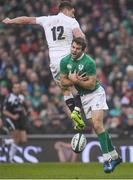 18 March 2017; Jared Payne of Ireland and Owen Farrell of England compete for possession during the RBS Six Nations Rugby Championship match between Ireland and England at the Aviva Stadium in Lansdowne Road, Dublin. Photo by Brendan Moran/Sportsfile