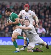 18 March 2017; Jared Payne of Ireland is tackled by Joe Launchbury of England during the RBS Six Nations Rugby Championship match between Ireland and England at the Aviva Stadium in Lansdowne Road, Dublin. Photo by Brendan Moran/Sportsfile