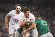 18 March 2017; Owen Farrell of England is tackled by Donnacha Ryan, left, and Garry Ringrose of Ireland during the RBS Six Nations Rugby Championship match between Ireland and England at the Aviva Stadium in Lansdowne Road, Dublin. Photo by Brendan Moran/Sportsfile