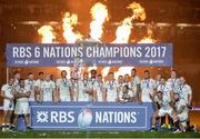 18 March 2017; England players celebrate with RBS Six Nations Championship trophy after the RBS Six Nations Rugby Championship match between Ireland and England at the Aviva Stadium in Lansdowne Road, Dublin. Photo by Sam Barnes/Sportsfile
