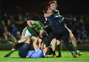 18 March 2017; Jack Savage, left, and Paul Geaney of Kerry tussle off the ball with Michael Fitzsimons, Stephen Cluxton and Philip McMahon of Dublin during the Allianz Football League Division 1 Round 5 match between Kerry and Dublin at Austin Stack Park in Tralee, Co Kerry. Photo by Diarmuid Greene/Sportsfile