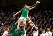 18 March 2017; Courtney Lawes of England wins a lineout from Peter O'Mahony of Ireland during the RBS Six Nations Rugby Championship match between Ireland and England at the Aviva Stadium in Lansdowne Road, Dublin. Photo by Brendan Moran/Sportsfile