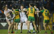 18 March 2017; Peter Harte and Declan McClure of Tyrone involved in a disagreement with Ryan McHugh and Neil McGee of Donegal during the Allianz Football League Division 1 Round 5 match between Donegal and Tyrone at MacCumhaill Park in Ballybofey, Co Donegal. Photo by Oliver McVeigh/Sportsfile