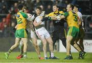 18 March 2017; Players from both teams in dispute in the second half during the Allianz Football League Division 1 Round 5 match between Donegal and Tyrone at MacCumhaill Park in Ballybofey, Co Donegal. Photo by Oliver McVeigh/Sportsfile
