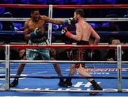 18 March 2017; KeAndrae Leatherwood, left, in action against Andy Lee during their middleweight bout at Madison Square Garden in New York, USA. Photo by Ramsey Cardy/Sportsfile