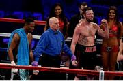 18 March 2017; Andy Lee, right, is announced victorious over KeAndrae Leatherwood following their middleweight bout at Madison Square Garden in New York, USA. Photo by Ramsey Cardy/Sportsfile