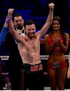 18 March 2017; Andy Lee is announced victorious over KeAndrae Leatherwood following their middleweight bout at Madison Square Garden in New York, USA. Photo by Ramsey Cardy/Sportsfile