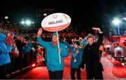 18 March 2017; Chief Executive Officer, Special Olympics, Mary Davis and Team Ireland's Caolan McConville, a member of Skiability Special Olympics Club, from Aghagallon, Co. Armagh, lead Team Ireland during the Opening Ceremony of the 2017 Special Olympics World Winter Games at Planai-Hochwurzen Bahnen in Schladming, Austria. Photo by Ray McManus/Sportsfile