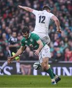 18 March 2017; Jared Payne of Ireland in action against Owen Farrell of England during the RBS Six Nations Rugby Championship match between Ireland and England at the Aviva Stadium in Lansdowne Road, Dublin. Photo by Brendan Moran/Sportsfile