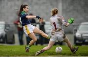 19 March 2017; Sarah Houlihan of Kerry has her shot saved by Dearbhla Gower of Galway during the Lidl Ladies Football national league Round 5 match between Galway and Kerry at Corofin GAA Club in Corofin, Co. Galway. Photo by Sam Barnes/Sportsfile