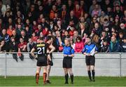19 March 2017; Aidan Forker of Armagh is shown a red card by referee Ciaran Branagan during the Allianz Football League Division 3 Round 5 match between Louth and Armagh at the Gaelic Grounds in Drogheda, Co Louth. Photo by Eóin Noonan/Sportsfile
