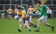 19 March 2017; Keelan Sexton of Clare in action against Eoin Donnelly and Ryan Jones of Fermanagh during the Allianz Football League Division 2 Round 5 match between Fermanagh and Clare at Brewster Park in Enniskillen, Co Fermanagh. Photo by Oliver McVeigh/Sportsfile