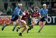 30 March 2002; Galway's Richie Murray in action against Dublin's Conal Keaney. Dublin v Galway, National Hurling League, Parnell Park, Dublin. Picture credit; Damien Eagers / SPORTSFILE