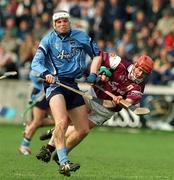 30 March 2002; Conal Keaney, Dublin, in action against Ollie Canning, Galway. Dublin v Galway, National Hurling League, Parnell Park, Dublin. Picture credit; Pat Murphy / SPORTSFILE