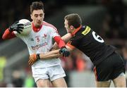 19 March 2017; Derek Maguire of Louth in action against Brendan Donaghy of Armagh during the Allianz Football League Division 3 Round 5 match between Louth and Armagh at the Gaelic Grounds in Drogheda, Co Louth. Photo by Eóin Noonan/Sportsfile