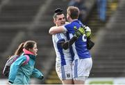 19 March 2017; Cavan goalkeeper Raymond Galligan celebrates with team mate Gearoid McKiernan at the end of the Allianz Football League Division 1 Round 5 match between Mayo and Cavan at Elverys MacHale Park in Castlebar, Co Mayo. Photo by David Maher/Sportsfile