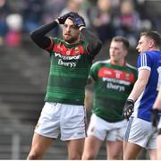 19 March 2017; Tom Parsons of Mayo reacts after his shot went wide during the Allianz Football League Division 1 Round 5 match between Mayo and Cavan at Elverys MacHale Park in Castlebar, Co Mayo. Photo by David Maher/Sportsfile