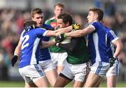 19 March 2017; Tom Parsons of Mayo in action against Niall Clerkin, left, and Killian Clarke of Cavan during the Allianz Football League Division 1 Round 5 match between Mayo and Cavan at Elverys MacHale Park in Castlebar, Co Mayo. Photo by David Maher/Sportsfile